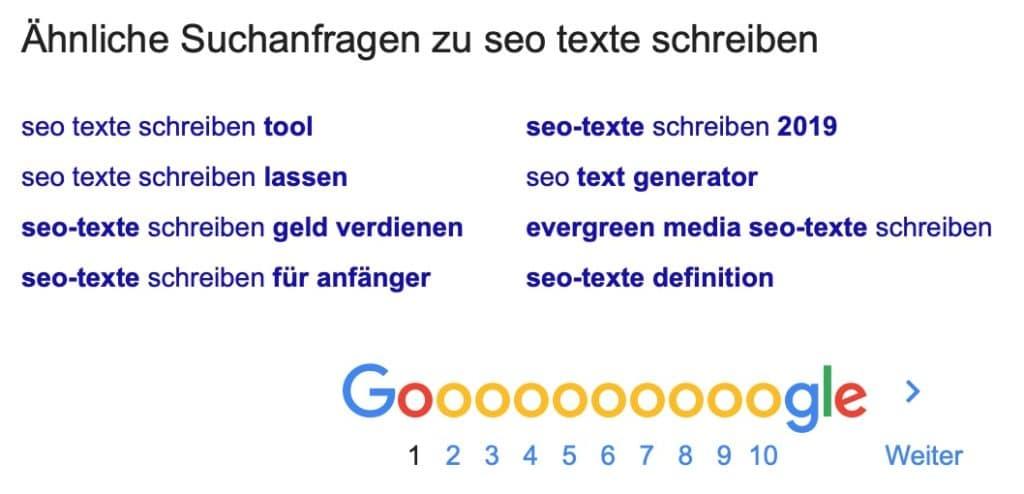 Keywordrecherche mit Google Seo Texter