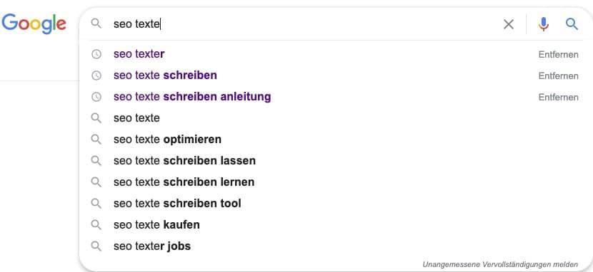 Google Suggest Seo Texte schreiben